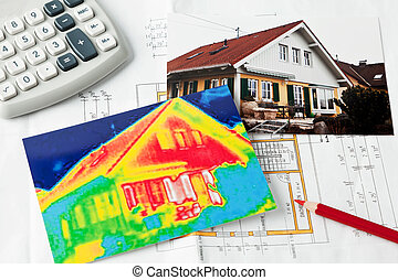 Save energy. House with thermal imaging camera - Saving ...