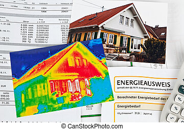 save energy. house with thermal imaging camera
