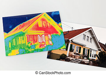 save energy. house with thermal imaging camera - saving...