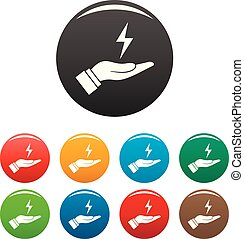 Save energy icons set color