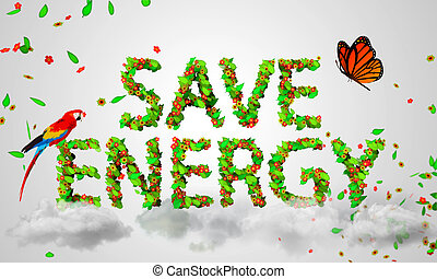 Save Energy leaves particles 3D