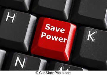 save energy - save power or energy concept with key on...