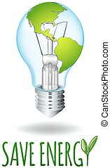 Save energy theme with earth on lightbulb