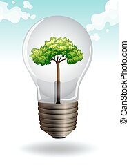 Save energy theme with lightbulb and tree