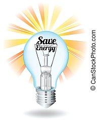 Save energy theme with lightbulb