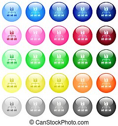 Save file as multiple format icons in color glossy buttons