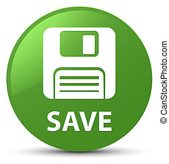 Save (floppy disk icon) soft green round button