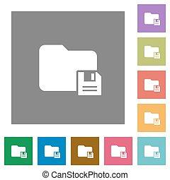 Save folder square flat icons