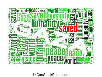 Save Gaza info-text graphics