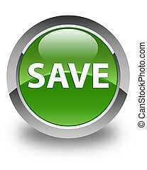 Save glossy soft green round button