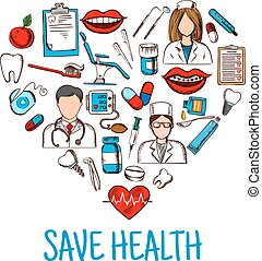 Save Health symbol with heart of medical sketches - Colored...