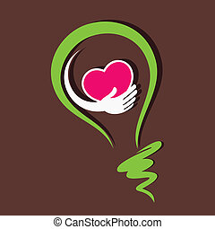 save heart and healthy hear in bulb stock vector