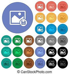 Save image round flat multi colored icons