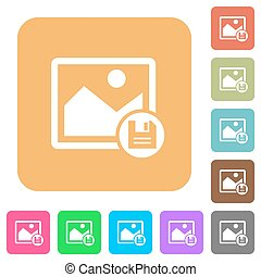Save image rounded square flat icons