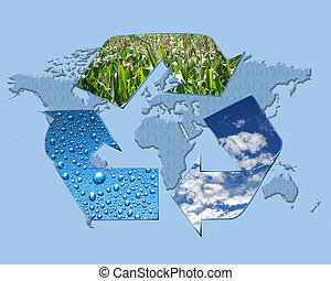 recycle symbol and world map