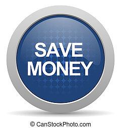 save money blue glossy web icon