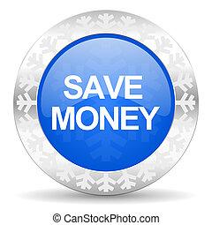 save money blue icon, christmas button