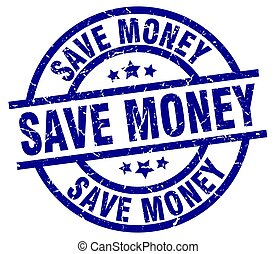save money blue round grunge stamp