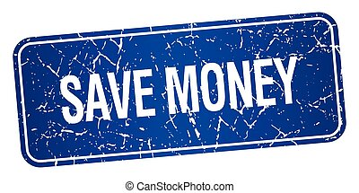 save money blue square grunge textured isolated stamp