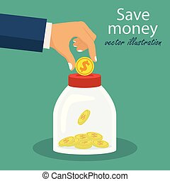 Save money concept. Vector illustration in flat design.
