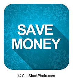 save money flat icon, christmas button