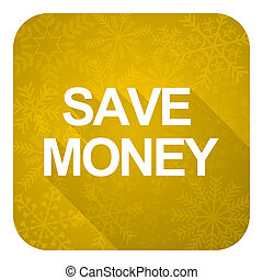 save money flat icon, gold christmas button