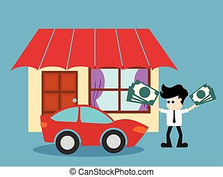 Save money for house property . vector illustration.