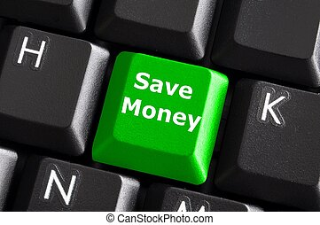 save money for investment concept with a green button on...
