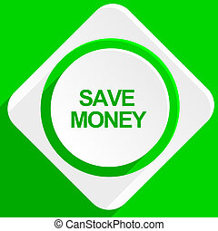 save money green flat icon