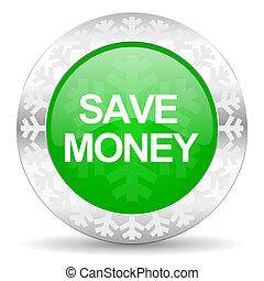 save money green icon, christmas button
