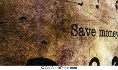 Save money grunge concept
