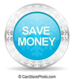 save money icon, christmas button