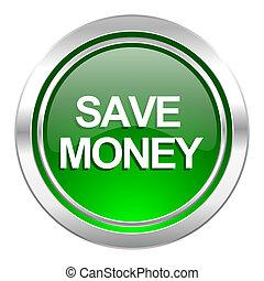save money icon, green button