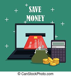 save money on line with laptop