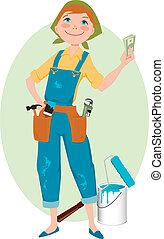 Smiling cartoon woman in overalls holding money, home renovation tools in her pockets and a can of paint and painter's roller at her feet, vector illustration, no transparencies