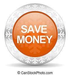 save money orange icon, christmas button