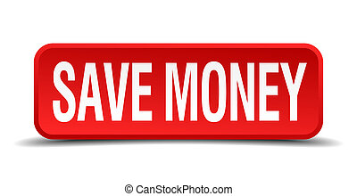 save money red 3d square button isolated on white
