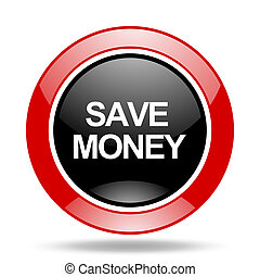 save money red and black web glossy round icon