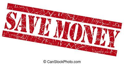 Save money red grunge stamp