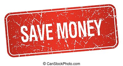 save money red square grunge textured isolated stamp