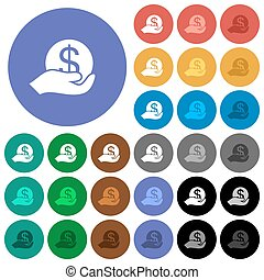 Save money round flat multi colored icons