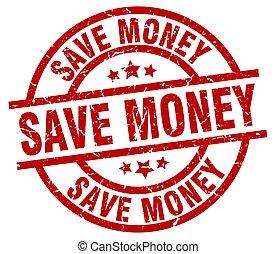 save money round red grunge stamp