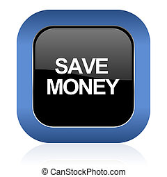save money square glossy icon