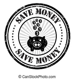 Save money stamp - Save money grunge rubber stamp on white,...