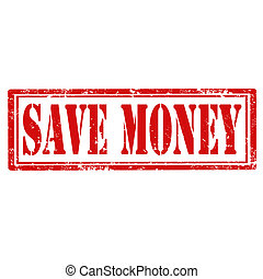Save Money-stamp - Grunge rubber stamp with text Save Money...