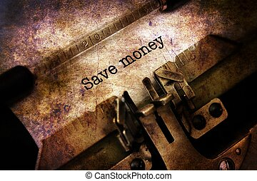 Save money text on typewriter