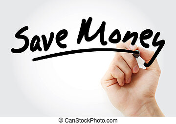 Save Money text with marker