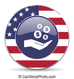 Save money usa design web american round internet icon with shadow on white background.