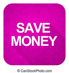 save money violet flat icon, christmas button