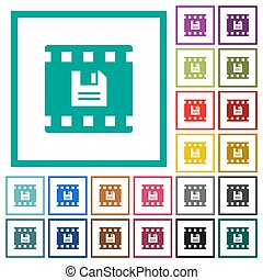Save movie flat color icons with quadrant frames on white...